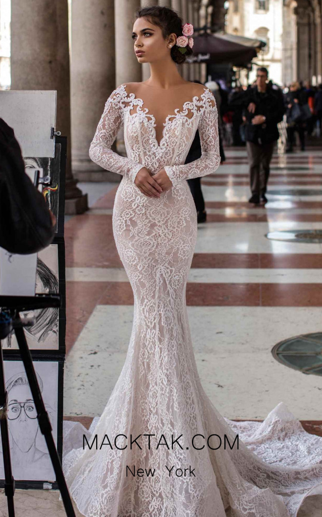 Tarik Ediz 93623 Ivory Front Dress