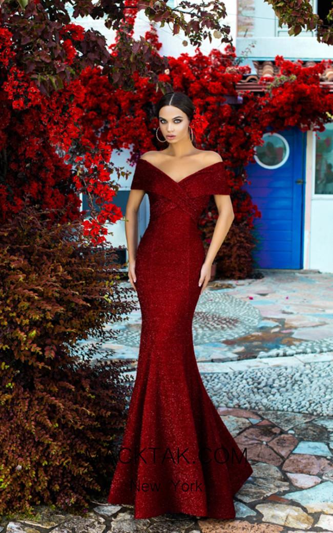 Tarik Ediz 93636 Red Front Dress