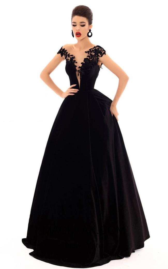 Tarik Ediz 93697 Black Front Dress