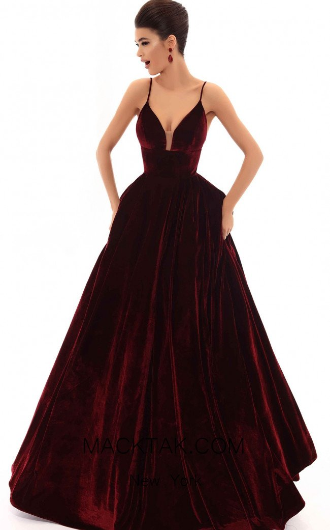Tarik Ediz 93698 Burgundy Front Dress