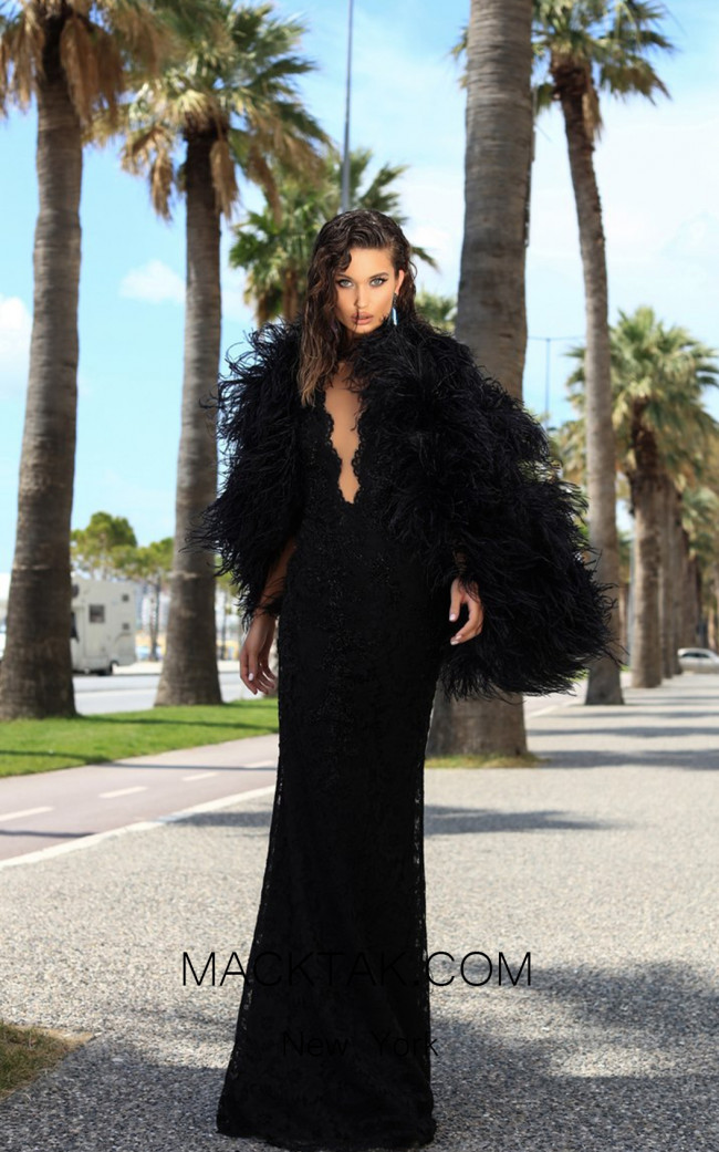 Tarik Ediz 93708 Black Front Dress