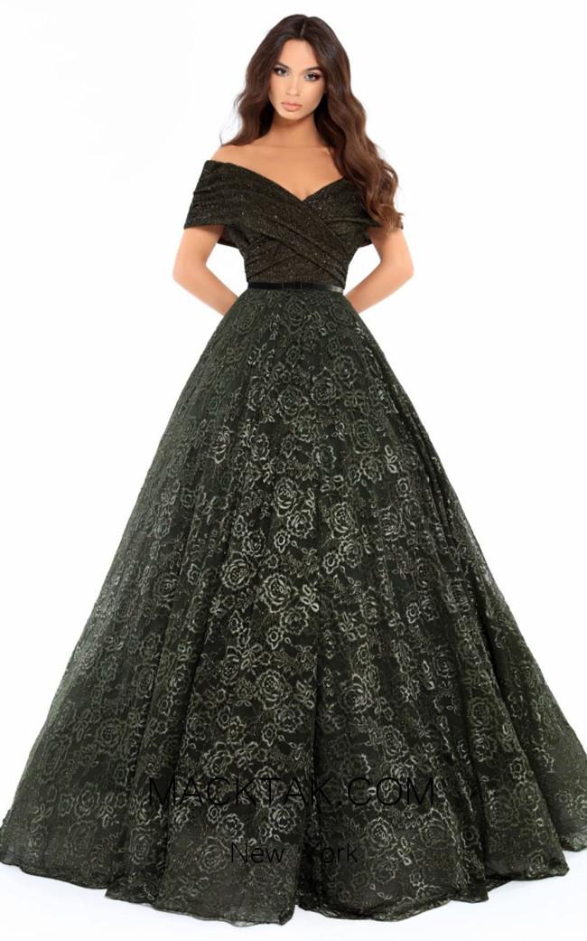 Tarik Ediz 93712 Olive Green Front Dress