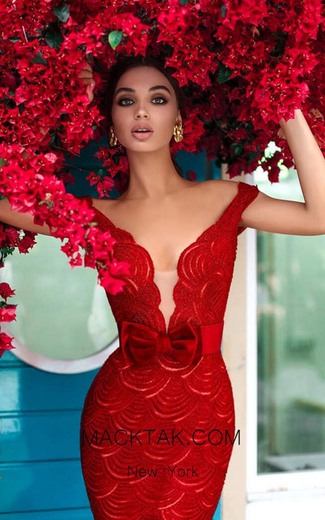 Tarik Ediz 93724 Red Dress