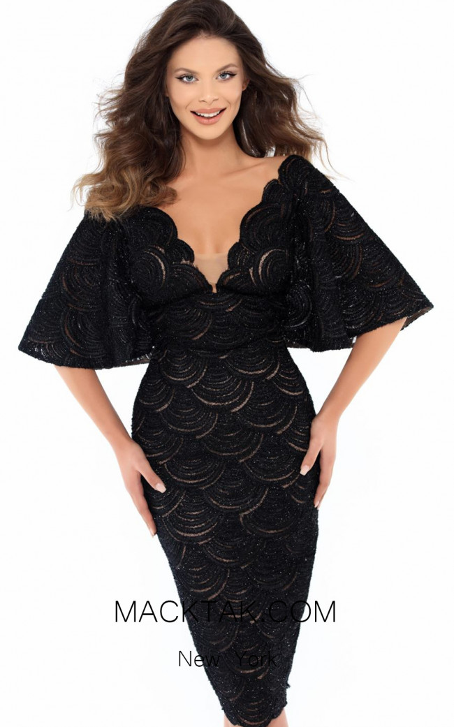 Tarik Ediz 93725 Black Front Dress