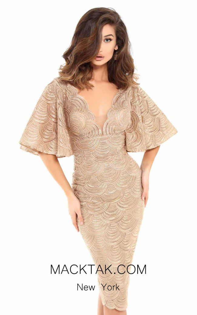Tarik Ediz 93725 Gold Front Dress