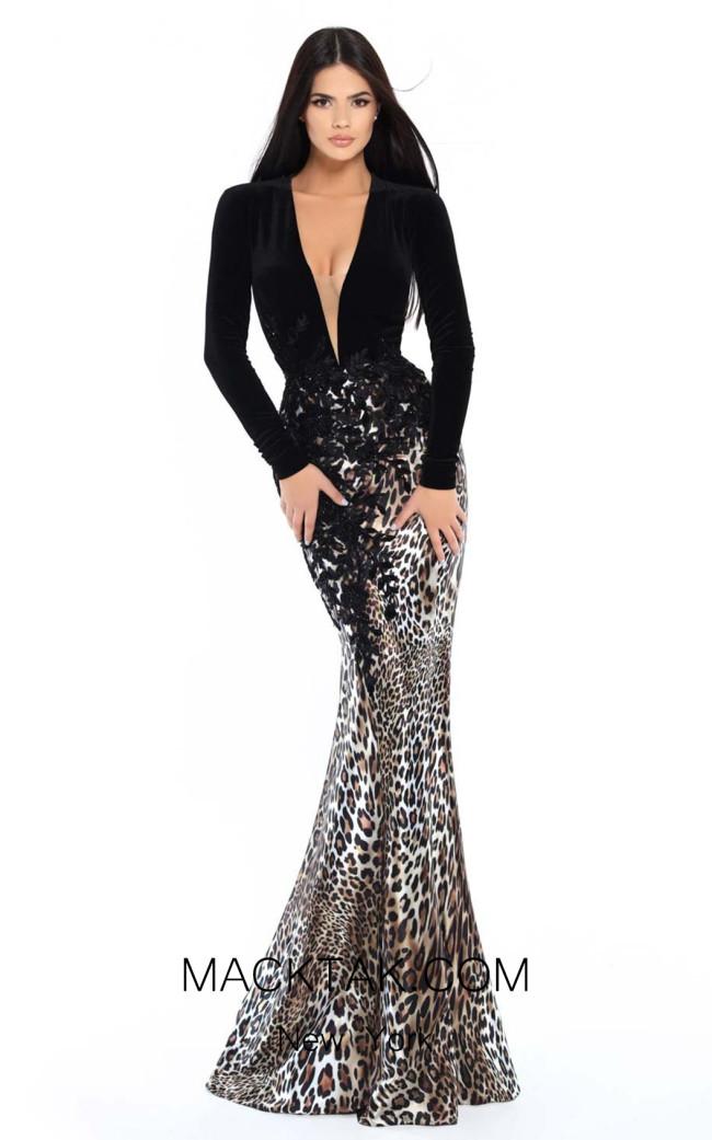 Tarik Ediz 93747 Black Front Dress