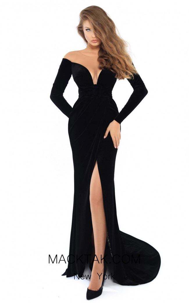 Tarik Ediz 93749 Black Front Dress