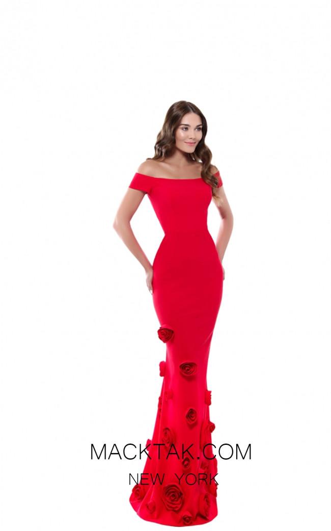 Tarik Ediz 50517 Red Front Prom Dress
