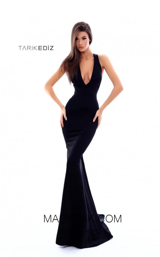 Tarik Ediz 50337 Black Front Prom Dress