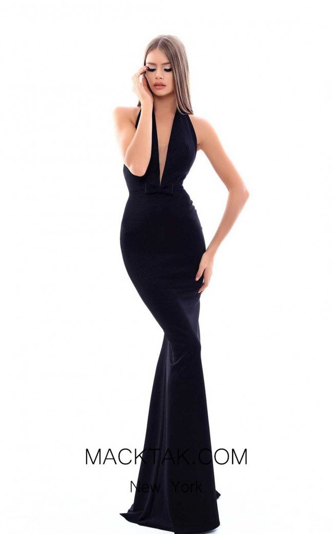 Tarik Ediz 50340 Black Front Dress