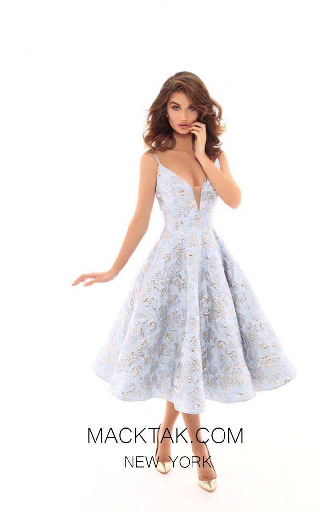 Tarik Ediz 50400 Blue Front Prom Dress