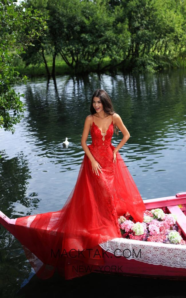 Tarik Ediz 50405 Red Front Prom Dress
