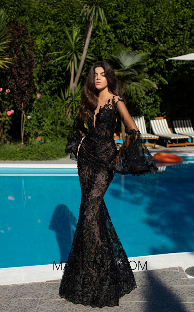 Tarik Ediz 50407 Black Front Prom Dress