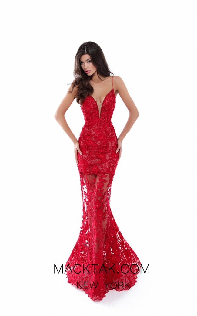 Tarik Ediz 50412 Red Front Prom Dress