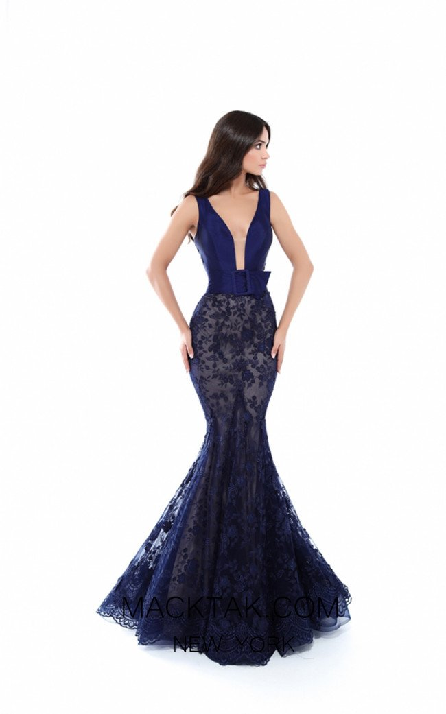 Tarik Ediz 50427 Navy Front Prom Dress