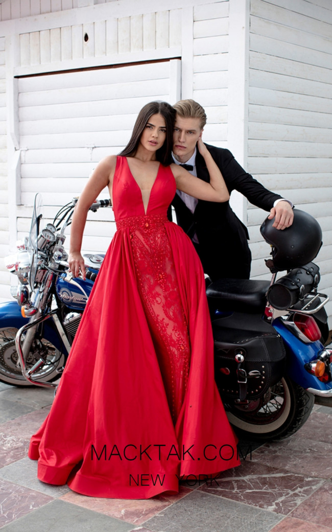 Tarik Ediz 50431 Red Front Prom Dress