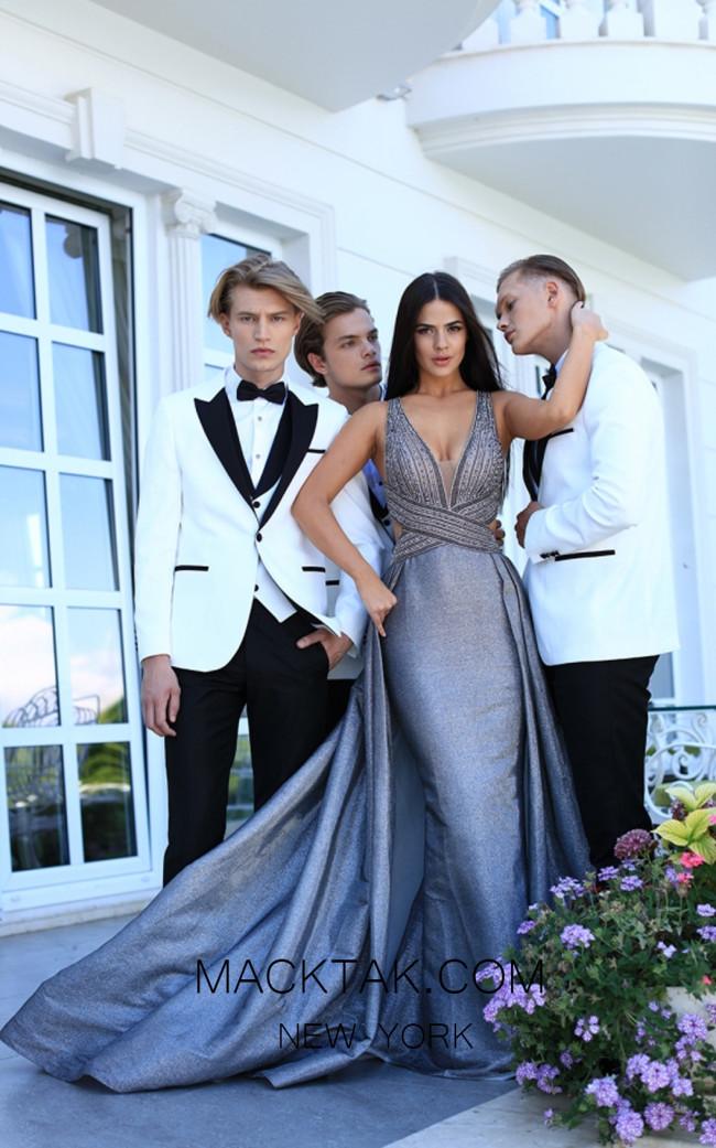 Tarik Ediz 50438 Gunmetal Front Prom Dress