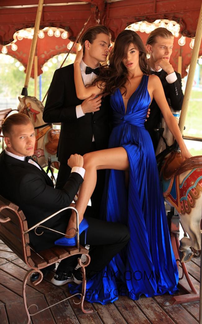 Tarik Ediz 50449 Royal Blue Front Prom Dress