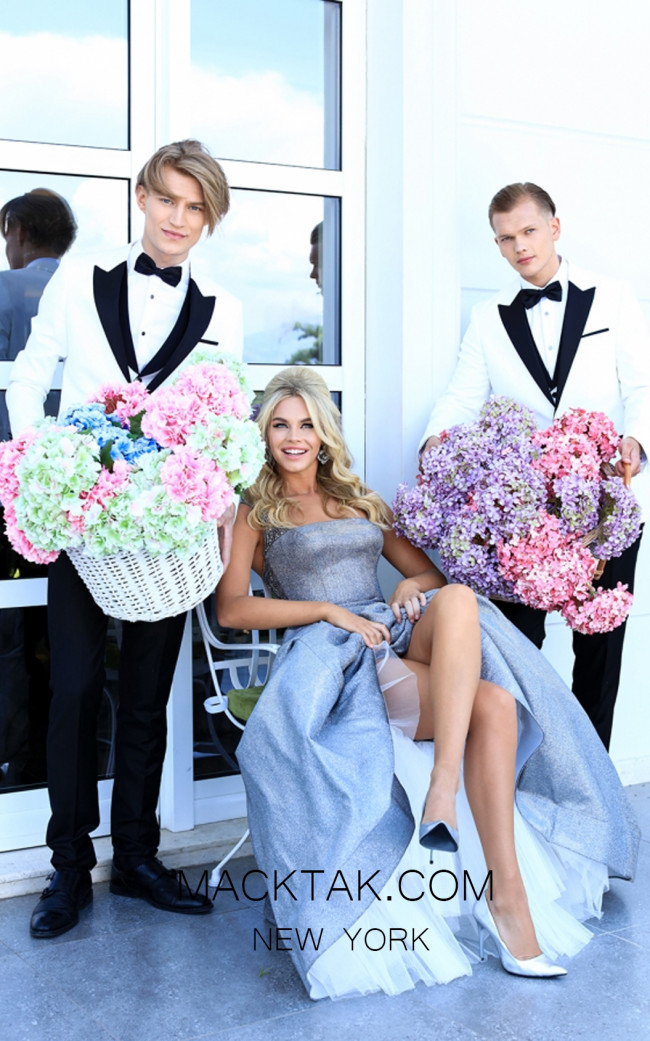 Tarik Ediz 50451 Gunmetal Prom Dress