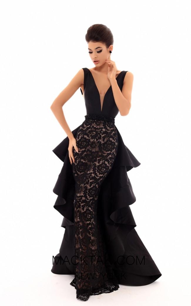 tarik ediz 50463 black front dress