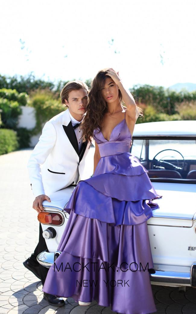 Tarik Ediz 50470 Violet Front Prom Dress