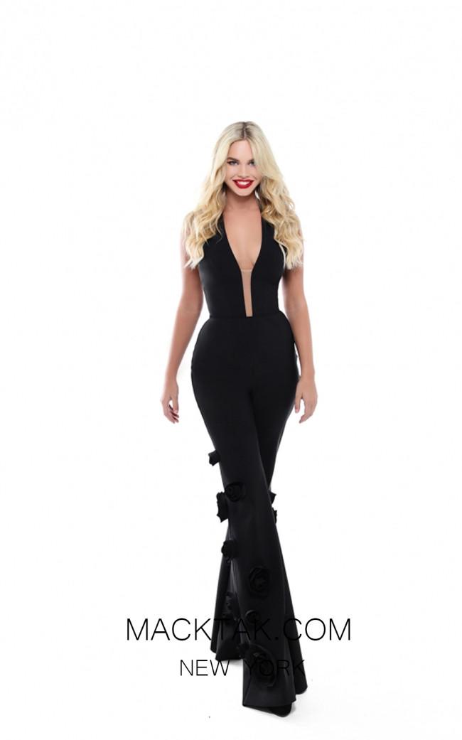 Tarik Ediz 50480 Black Front Prom Dress