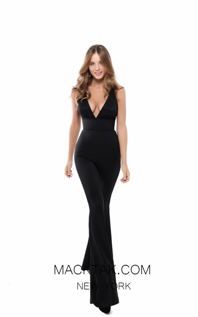 Tarik Ediz 50482 Black Front Prom Dress