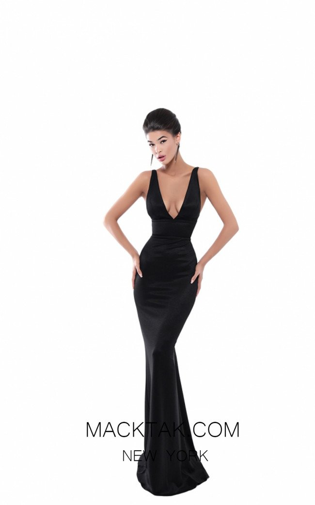Tarik Ediz 50483 Black Front Prom Dress