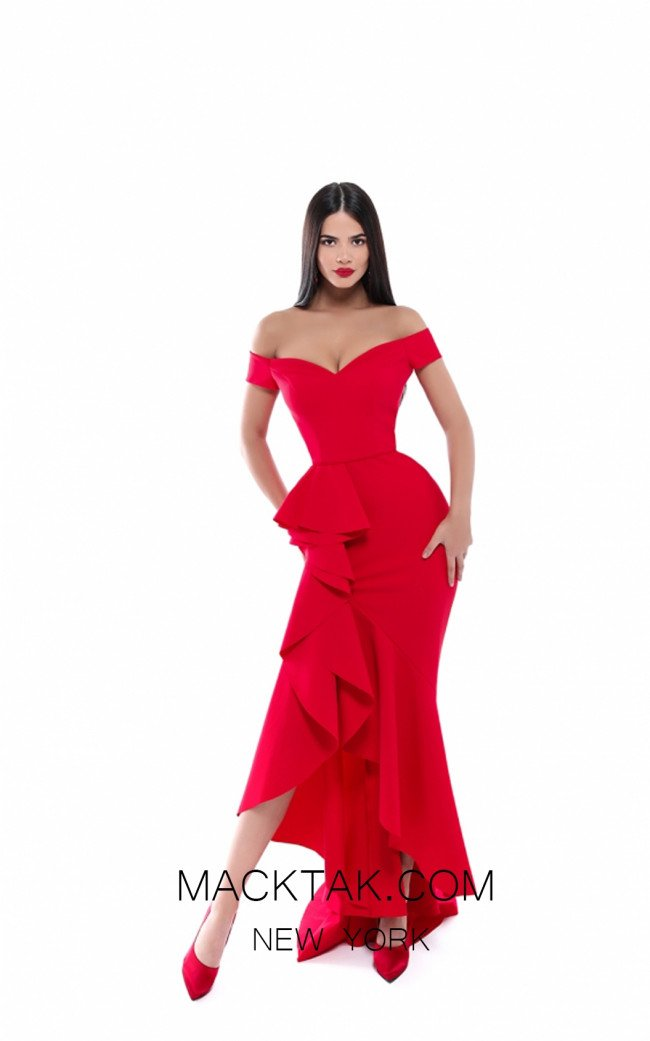 Tarik Ediz 50495 Red Front Prom Dress