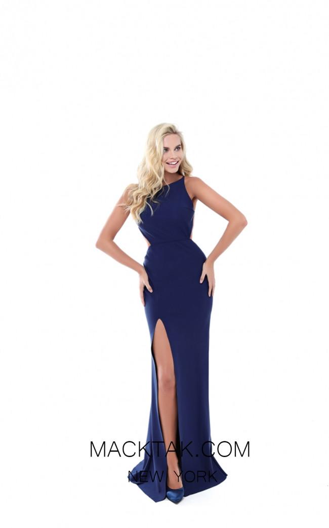 Tarik Ediz 50499 Navy Front Prom Dress
