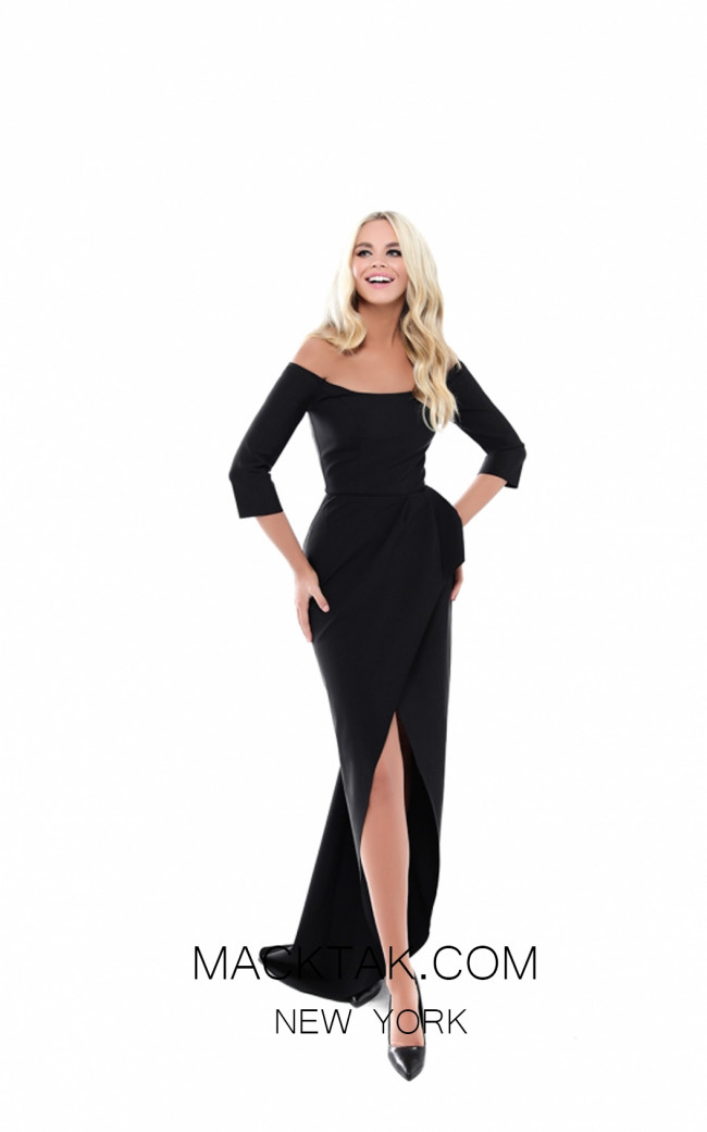 Tarik Ediz 50519 Black Front Prom Dress