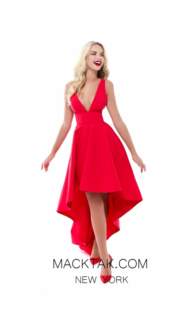 Tarik Ediz 50523 Red Front Prom Dress