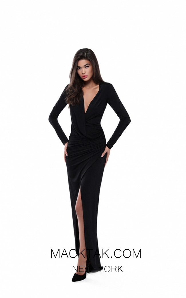 Tarik Ediz 50529 Black Front Prom Dress