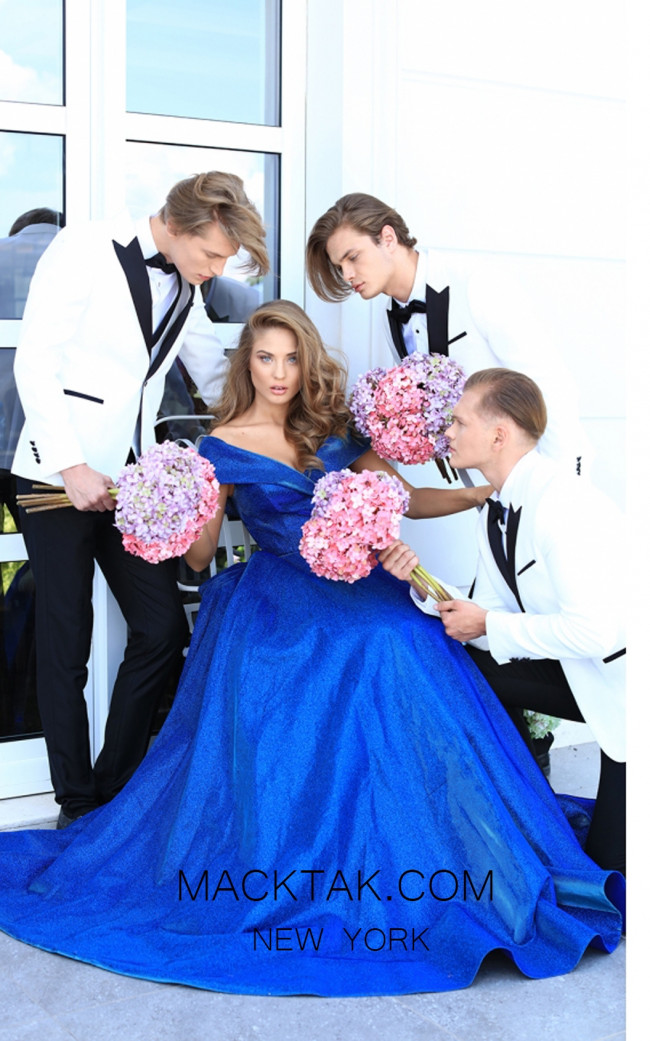 Tarik Ediz 50540 Royal Blue Front Prom Dress