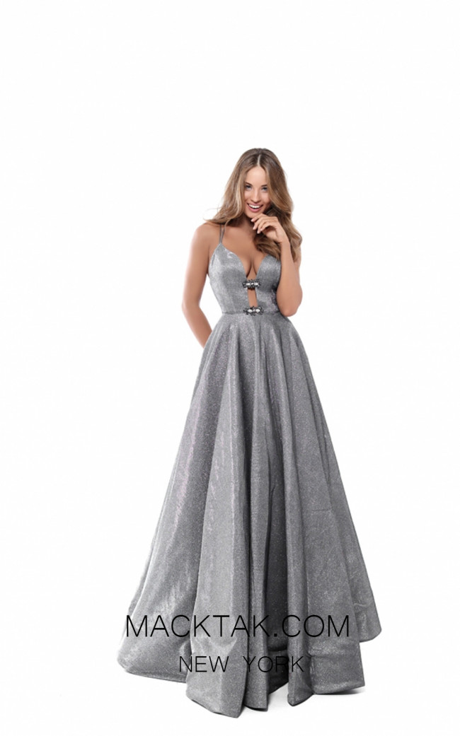Tarik Ediz 50542 Gunmetal Front Prom Dress