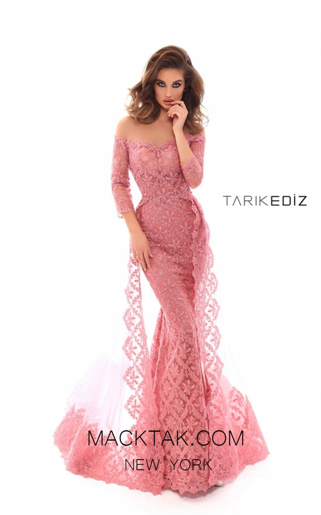Tarik Ediz 93607 Dark Rose Front Prom Dress