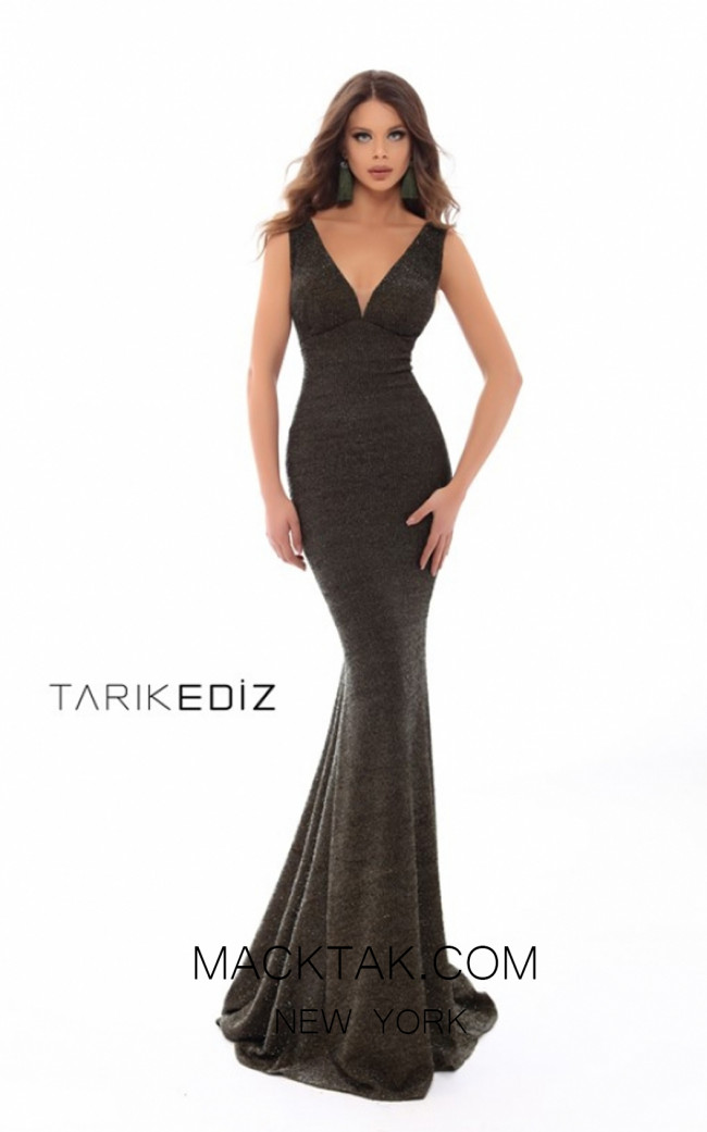 Tarik Ediz 93643 Olive Green Front Prom Dress