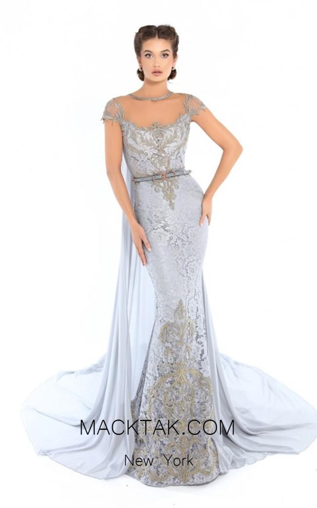 Tarik Ediz 93757 Cloudy Blue Front Evening Dress
