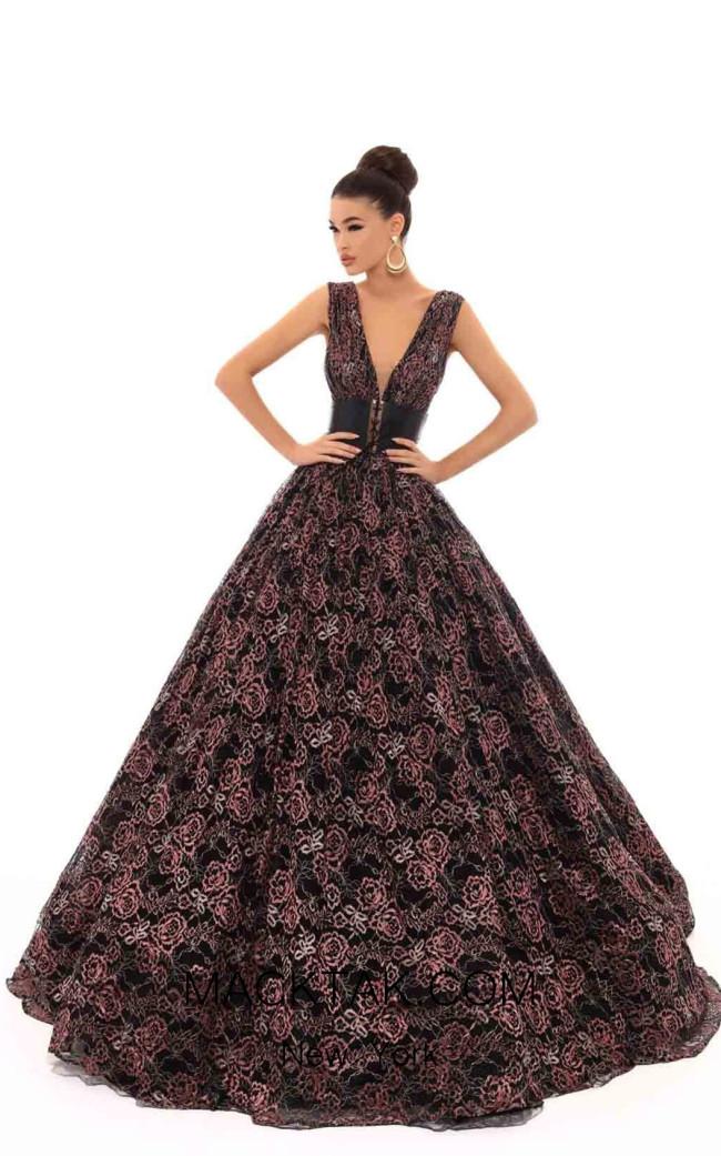 Tarik Ediz 93641 Black Front Dress