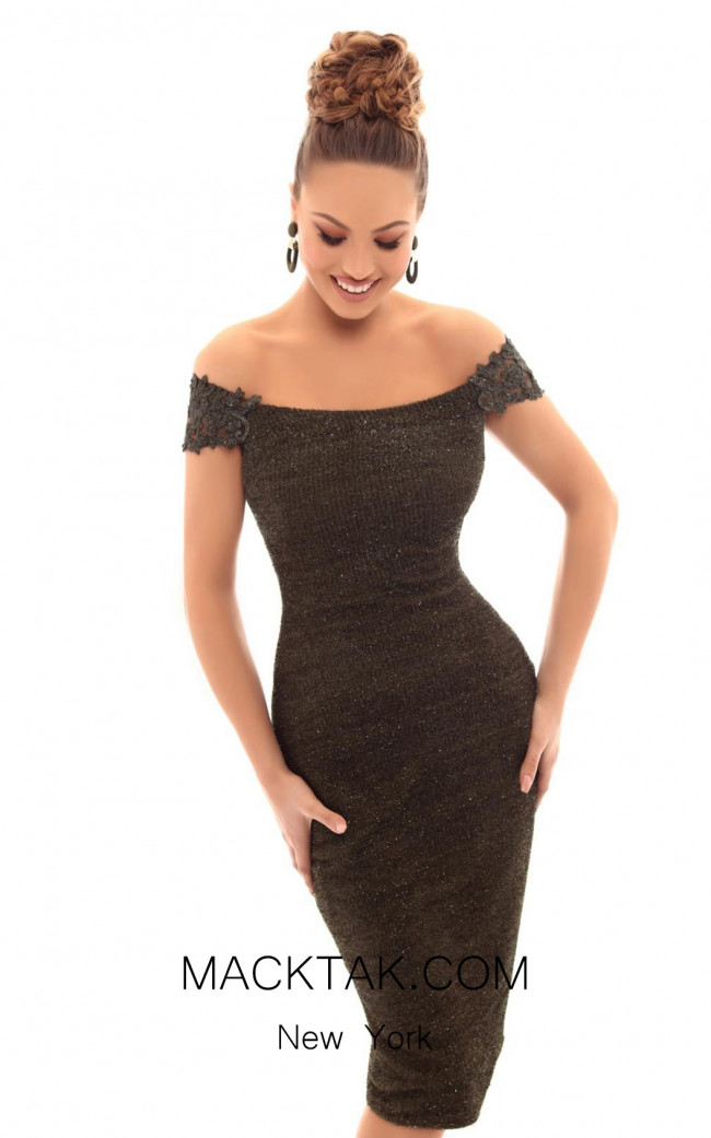 Tarik Ediz 93647 Olive Green Front Dress