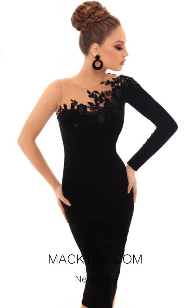 Tarik Ediz 93664 Black Front Dress