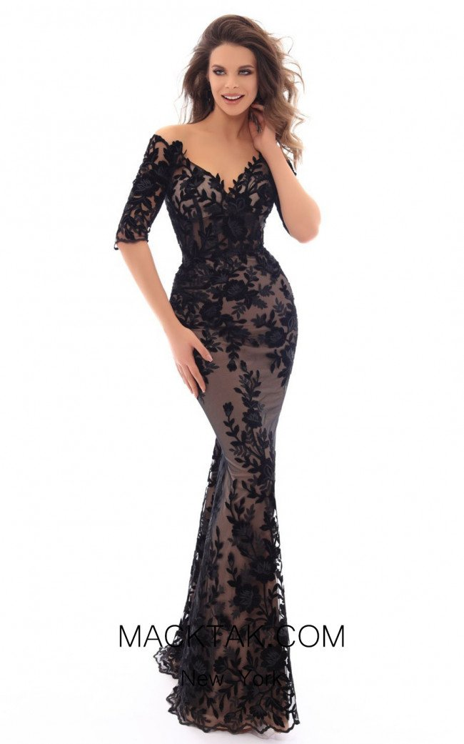 Tarik Ediz 93666 Black Front Dress
