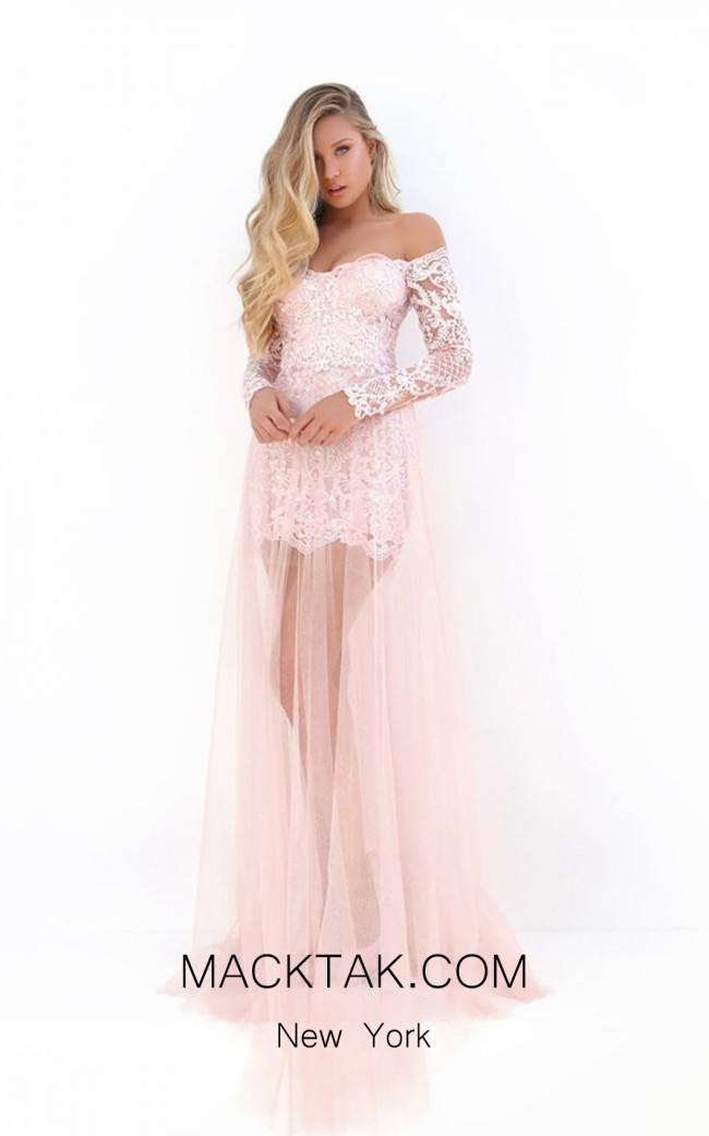 Tarik Ediz 50668 Pink Front Dress
