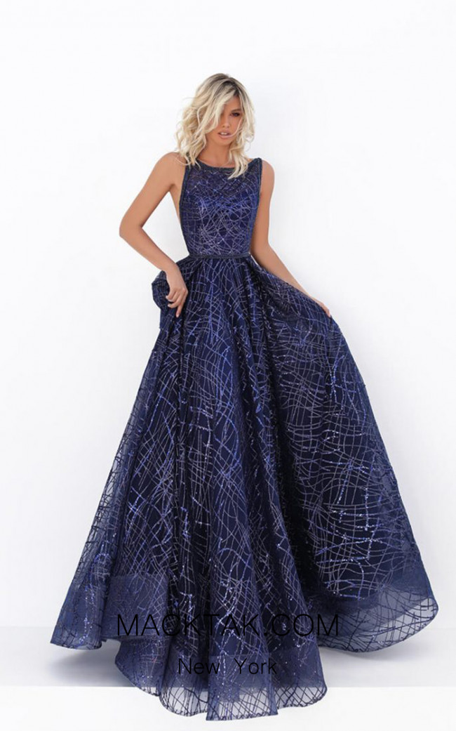 Tarik Ediz 50680 Navy Front Dress