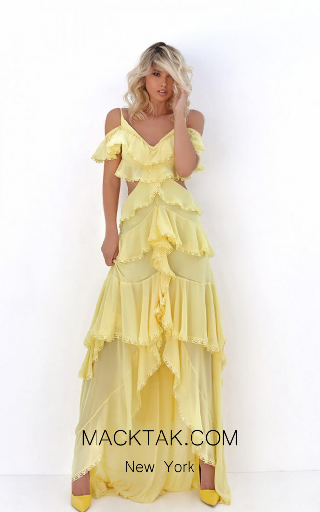 Tarik Ediz 50682 Yellow Front Dress