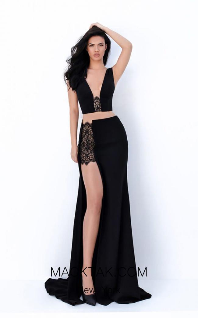 Tarik Ediz 50689 Black Front Dress