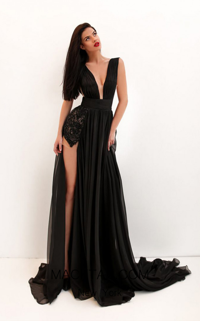 Tarik Ediz 50690 Black Front Dress