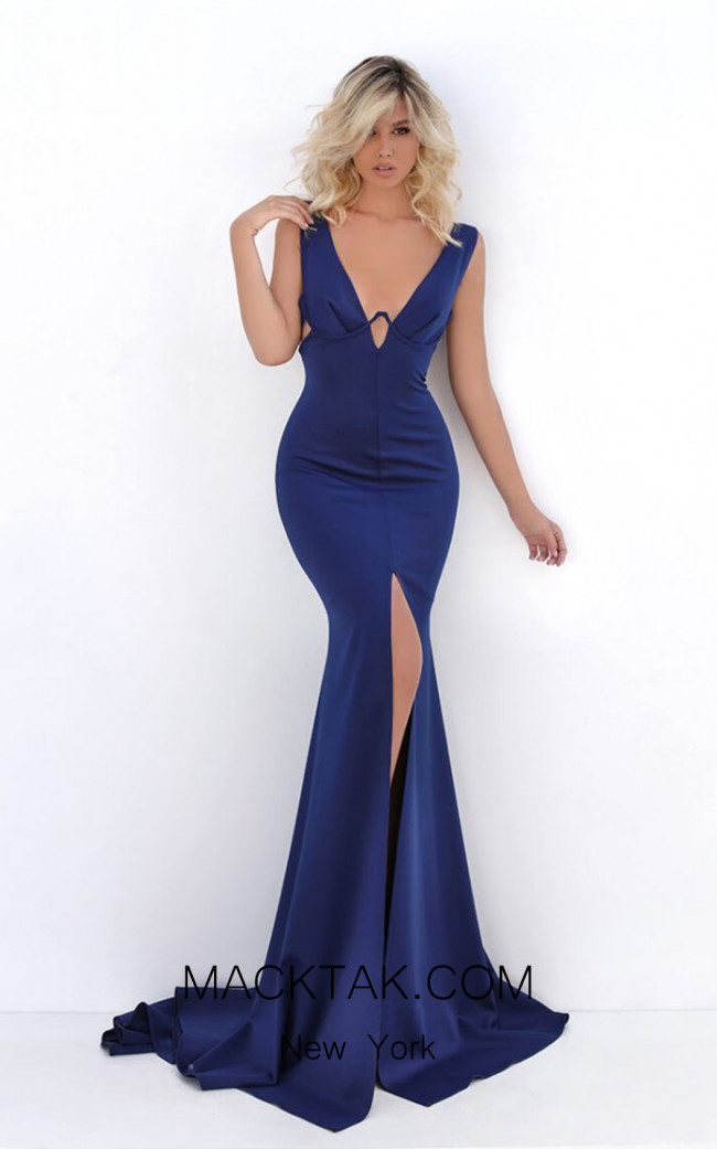 Tarik Ediz 50691 Navy Front Dress