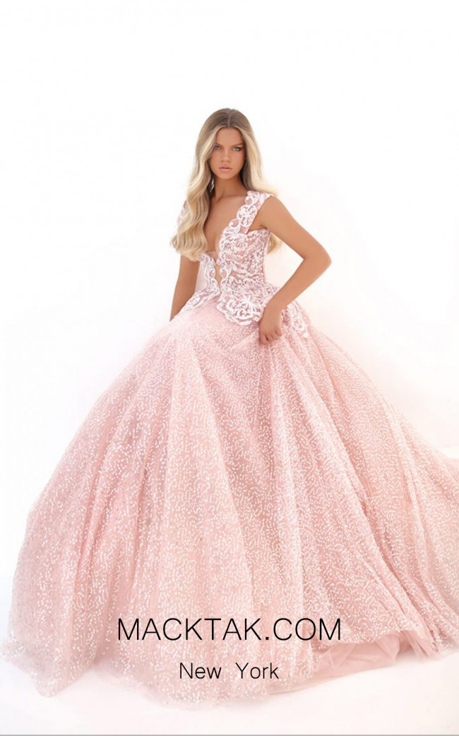 Tarik Ediz 50703 Pink Front Dress