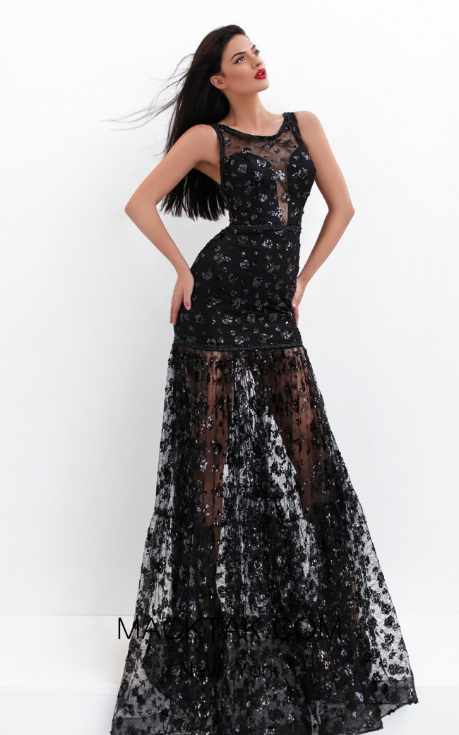 Tarik Ediz 50751 Black Front Dress
